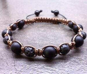 Mens beaded braided Bracelet cord stone beads cuff bangle jewelry wristband men