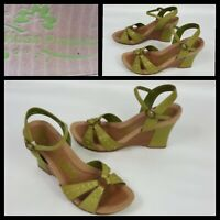 Hush Puppies Moonlight Pale Green Wedge Heel Sandals Size 4