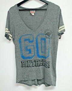 Junk Food NFL Carolina Panthers Womens V-Neck T-Shirt Size M Heather Gray Tee