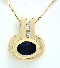 GENUINE 0.68 Cts BLUE SAPPHIRE & DIAMONDS 10k Yellow Gold Box Chain NECKLACE
