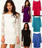 Clearance Warehouse Womens Lace Bodycon Off Shoulder Long Sleeve Party Dress