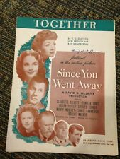 Together – Vintage Art Sheet Music From Since You Went Away- Shirley Temple