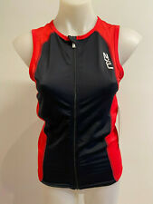 2XU Men's G:2 Active Tri Singlet Black Red Size M Zip up Brand New