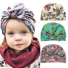 Cute Toddler Baby Floral Bowknot Turban Hat Stretchy Hair Head Wrap Beanie Cap
