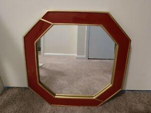 "15.5"" Nate Berkus La Rouse Octagonal Red Enamel Gold Trim Wall Mirror"