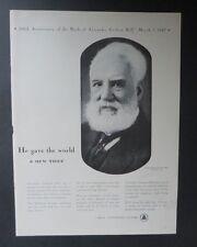 Original Print Ad 1947 BELL TELEPHONE SYSTEM Alexander Graham Bell