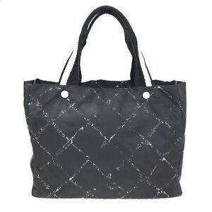 100% Authentic CHANEL Nylon Tote Bag Black [Used] {08-0321}