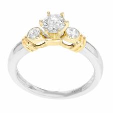 Round Yellow Gold Solitaire with Accents Engagement Fine Diamond Rings