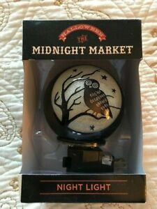 Halloween OWL Night Light with Bulb, Black & Cream, On/Off Switch