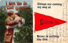 GLASGOW VIRGINIA THINGS ARE COMING MY WAY~ROMANCE PENNANT POSTCARD 1914