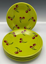 "4 Fiesta Lemongrass with Cherries Luncheon Plates New Rare 9"" Set of 4"