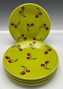 "4 Fiesta Lemongrass with Cherries Luncheon Plates New Rare 9"" Set of 4"