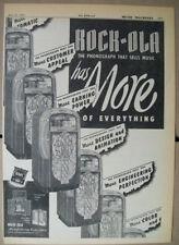Rock-ola Playmaster model 1424 phonograph & Wallbox model 1530 1947 Ad- has more
