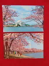 Lot Of 2 Vintage Washington, D.C. Cherry Blossoms Uncirculated Postcards