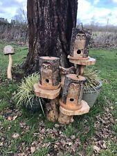 Hand Carved Owl Nest Box Bird House