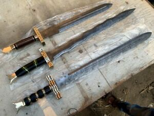 LOT OF 3 SPECIAL CUSTOM  HANMADE HUNTING SWORDS WITH LEATHER SHEATH NEW DESIGNS