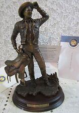 """Franklin Mint 11"""" Ronald Reagan Portrait Bronze Sculpt Figure/Statue+Wood Base"""