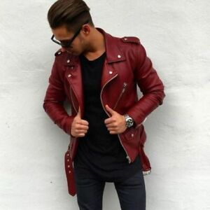 New Mens Leather Jacket Maroon Slim fit Biker Motorcycle Jacket
