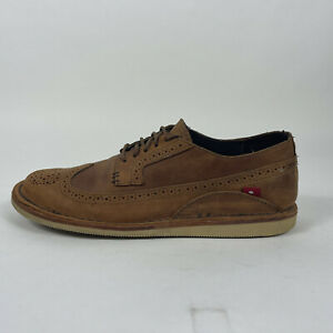Oliberte Men's US 12 EU 45 Brown Leather Lace Up Oxford Shoes Wing Tips