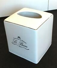 Kassatex La Bain Tissue Box Cover Holder Glazed Porcelain Bathroom Decor