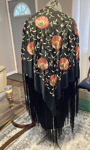 Beautiful Vintage 1920's Era Embroidered Silk Piano Shawl