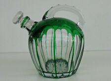 SAINT-LOUIS : Carafe Boule en Cristal Doublé Vert et Taillé vers 1920