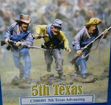 Collectors showcase 54mm Confederate 5TH Texas advancing #CS00401 3 figs MIBoop