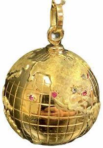 Vintage 18k Yellow Gold Multi-gem Spinning 3D Globe Pendant Earth Charm 14.2gr