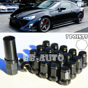 For Subaru Nissan 12X1.25mm Wheel Tuner Racing 7Pt Black Lug Nut Bolt X20 + Key