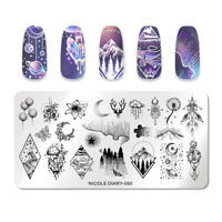NICOLE DIARY Stamping Plates Rectangle Flower Star Moon Nail Image Template 090