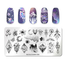 NICOLE DIARY Stamping Plates Stainless Steel Star Moon Nail Stamp Tools 090