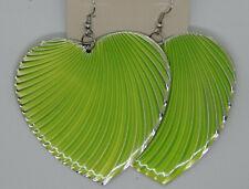 """Hook Pleated Heart Enameled 3.25"""" Green Ladies' Dangle Earrings My Style Pierced"""