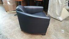 "Sharp Vintage Italian ""Deco Bugatti Racing Car Style"" Black Leather Club Chair"