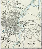 1886 Belfast Map Killarney Lakes Ireland Lagan Railroads Rand McNally ORIGINAL
