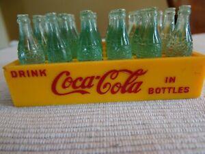 Vintage Miniature Coca-Cola Coke Bottles in Yellow Crate