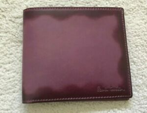 Paul Smith BOXED 8 card Wallet Plum BURNISHED Calf Leather Brown Interior