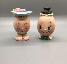 Vintage Anthropomorphic Eggs Salt And Pepper Shakers