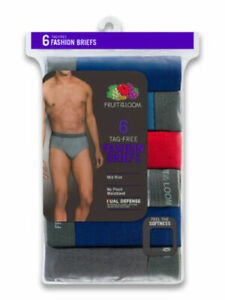 Fruit of the Loom Men's 100% Cotton Assorted Color Brief Underwear 6 Pack Small