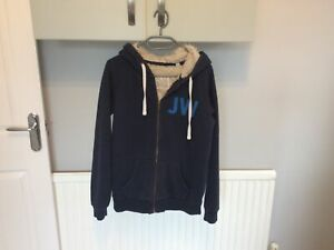 Womens Jack Wills faux fur lined hoodie blue size 10, Preowned