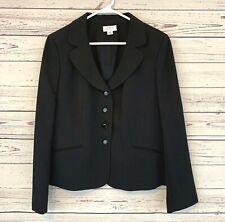 Vintage Ann Taylor Loft Petite Black Lined Dotted Suit Jacket Blazer 14P Pockets