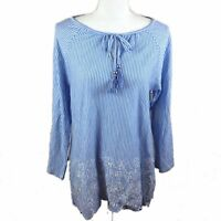 Rafaella Womens L Weekend Blue White Stripe Cold Shoulder Long Sleeve Top