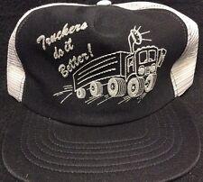 Vtg 80s TRUCKERS DO IT BETTER B&W Snapback Trucker Mesh Hat NOS ADULT HUMOR