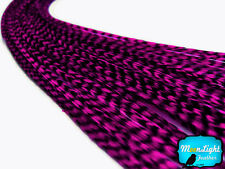 MAGENTA Thin Long Grizzly Rooster Feather & Silicon Bead