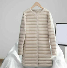 Winter Women's Down Quilted Puffer Jacket Slim Fit Coat Round Neck Light Parka