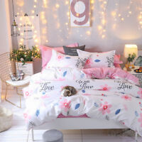 Pink Flower Cotton Girls' Bedding Set Duvet Cover Quilt Cover Single Queen King