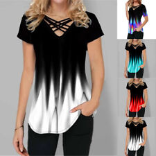 Womens V Neck Short Sleeve T Shirt Gradient Print Blouse Casual Beach Slim Tops