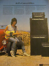 Jeff Beck, Seymour Duncan Amplifiers, Full Page Vintage Promotional Ad