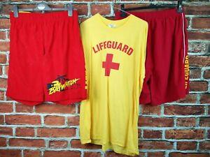 MENS GILDAN XL LIFEGUARD T-SHIRT & 2X RED SHORTS BAYWATCH FANCY DRESS COSTUME