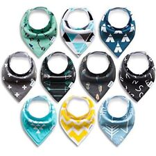 10 PACK Baby Bandana Drool Bibs ORGANIC Soft Absorbent Hypoallergenic FUN COLORS