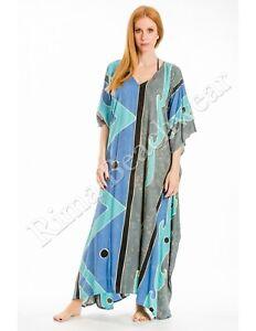 Womens Maxi Caftan Dress Recycle Silk Printed Beach Cover Up Resort Wear Kaftan